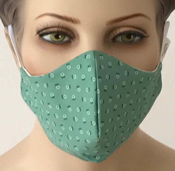 Premium Mund-Nasen-Schutz - Türkis mit Muster
