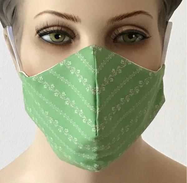 Premium Mund-Nasen-Schutz - Hellgrün mit Muster