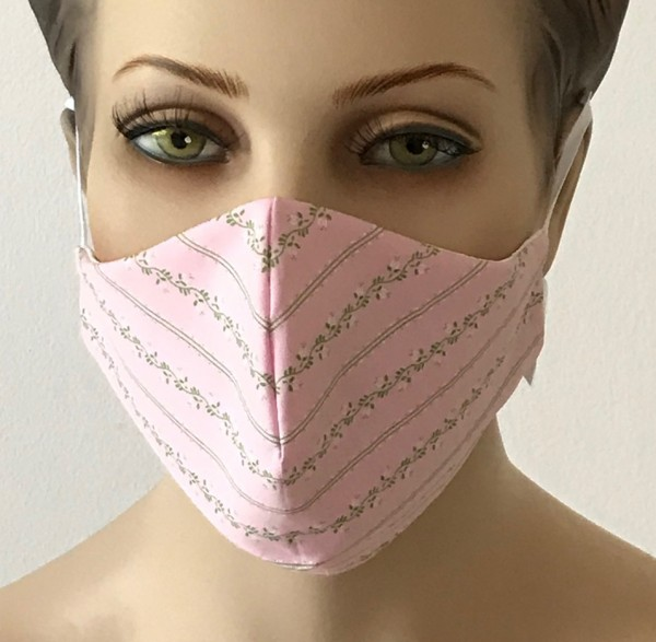 Premium Mund-Nasen-Schutz - Rose mit Muster
